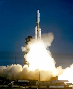 The launch of Voyager 1 aboard the Titan III/Centaur rocket, September 5, 1977. Photo Credit: NASA