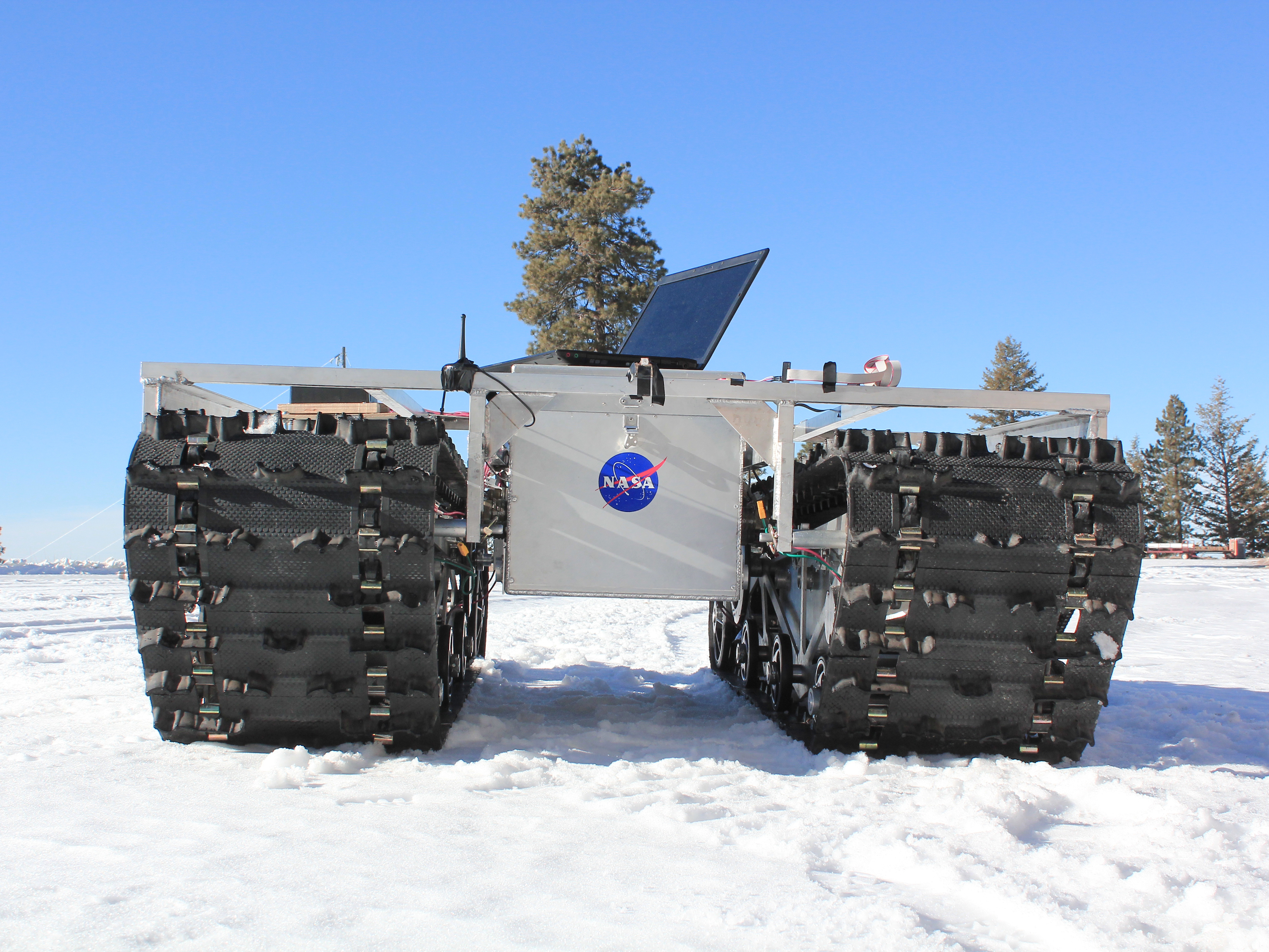 A prototype of GROVER, minus its solar panels, was tested in January 2012 at a ski resort in Idaho. The laptop in the picture is for testing purposes only and is not mounted on the final prototype. Credit: Gabriel Trisca, Boise State University
