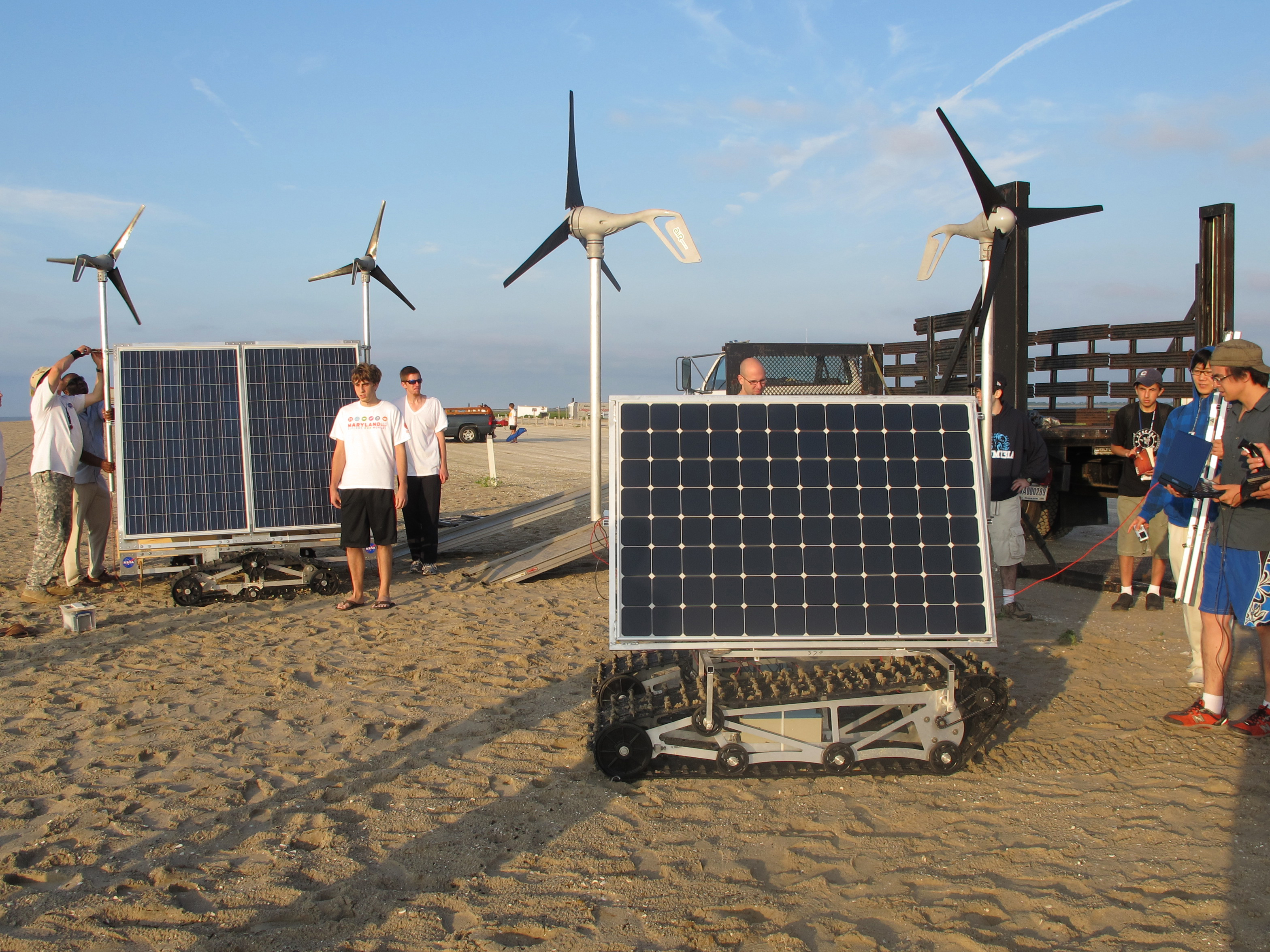 Students from a NASA Goddard summer engineering boot camp test two prototypes of GROVER at a beach in Asseteague Island, Md., in 2011. The prototype in front is similar to the one NASA will test in Greenland in May 2013. Credit: NASA/Michael Comberiate