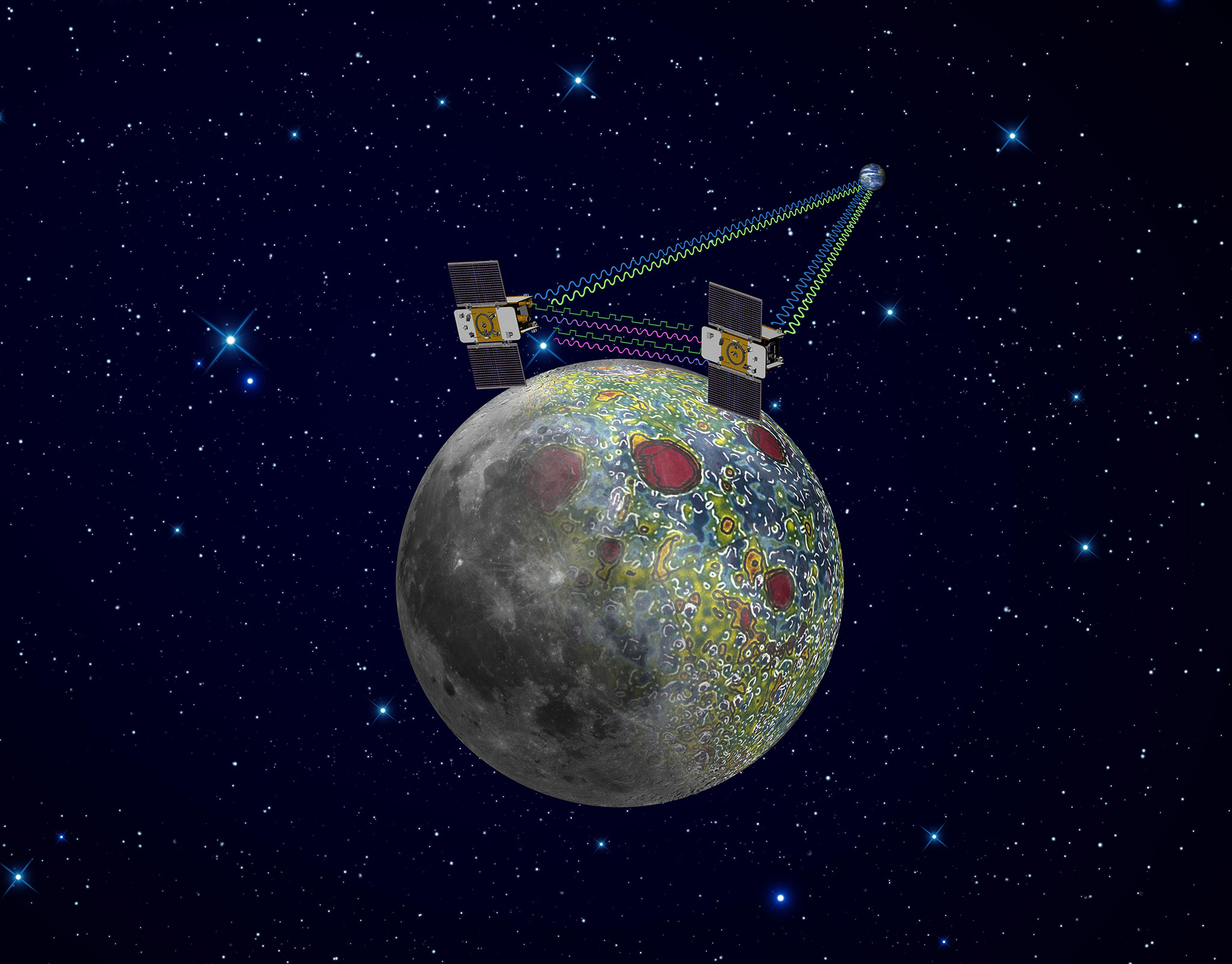 Using a precision formation-flying technique, the twin GRAIL spacecraft mapped the moon's gravity field, as depicted in this artist's rendering. Image credit: NASA/JPL-Caltech