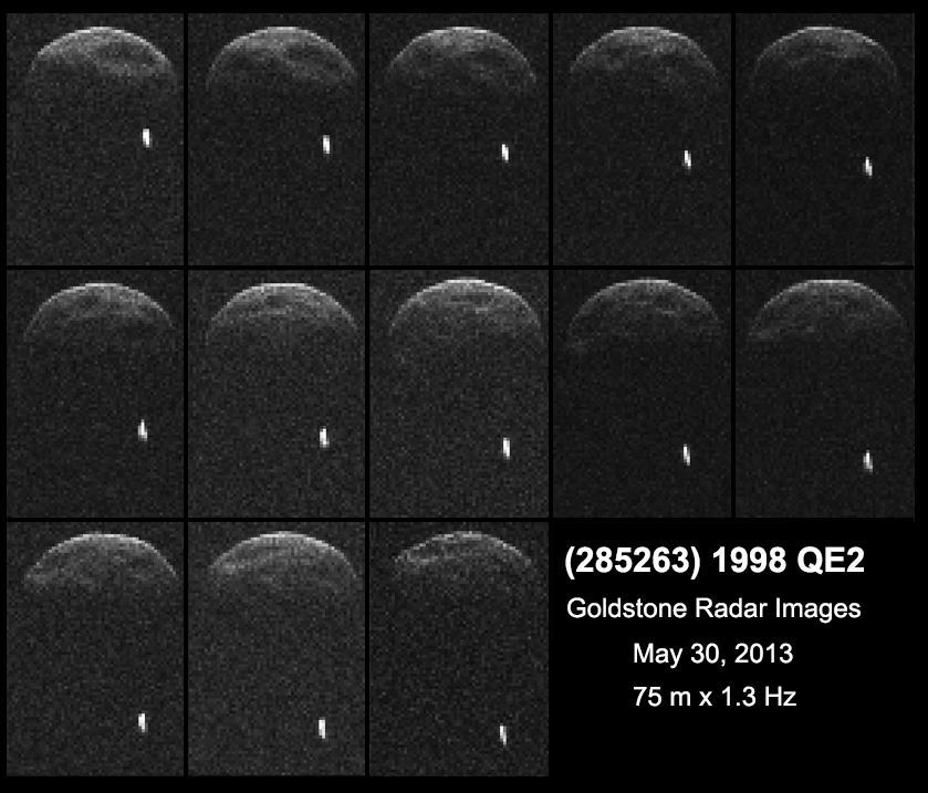 First radar images of asteroid 1998 QE2 were obtained when the asteroid was about 3.75 million miles (6 million kilometers) from Earth. The small white dot at lower right is the moon, or satellite, orbiting asteroid 1998 QE2. Image credit: NASA/JPL-Caltech/GSSR