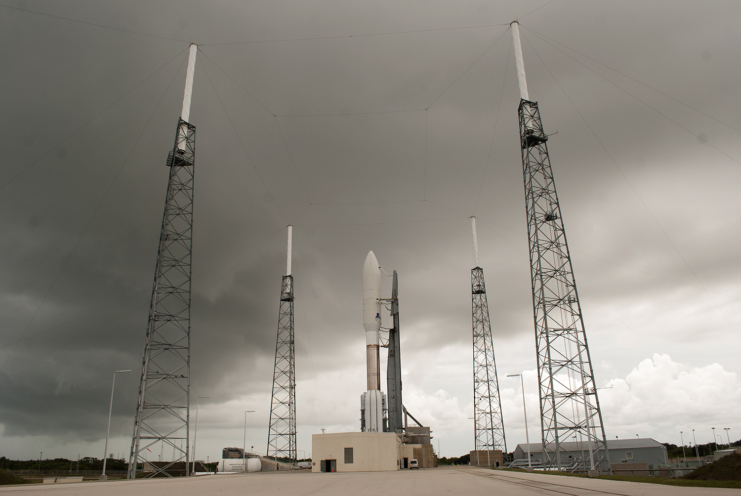 The threat of rain didn't stop the Atlas V from successfully launching MUOS-2. Credit: Val Phillips / Zero-G News