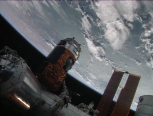 ISS's Canadarm2 moves the H-II Transfer Vehicle-4 into position for berthing to the Harmony node. Image Credit: NASA TV