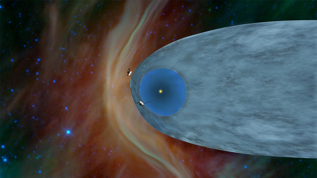 This artist's concept shows the general locations of NASA's two Voyager spacecraft. Voyager 1 (top) has sailed beyond our solar bubble into interstellar space, the space between stars. Its environment still feels the solar influence. Voyager 2 (bottom) is still exploring the outer layer of the solar bubble. Credit: NASA/JPL-Caltech