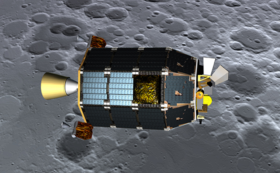 Artist's depiction of LADEE over the Moon. Credit: NASA / JPL