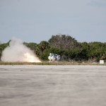 The first free flight of the Project Morpheus prototype lander was conducted at the Shuttle Landing Facility at NASA's Kennedy Space Center in Florida. The engine fired and the Morpheus lander launched from the ground over a flame trench. During the 54-second test, it ascended approximately 50 feet, and hovered for about 15 seconds. The lander then flew forward and landed on its pad about 23 feet from the launch point. Testing of the prototype lander was performed at NASA's Johnson Space Center in Houston in preparation for tethered and free flight testing at Kennedy. Project Morpheus integrates NASA's automated landing and hazard avoidance technology, or ALHAT, with an engine that runs on liquid oxygen and methane, or green propellants, into a fully-operational lander that could deliver cargo to asteroids and other planetary surfaces. The landing facility will provide the lander with the kind of field necessary for realistic testing, complete with rocks, craters and hazards to avoid. Morpheus' ALHAT payload allows it to navigate to clear landing sites amidst rocks, craters and other hazards during its descent. Project Morpheus is being managed under the Advanced Exploration Systems, or AES, Division in NASA's Human Exploration and Operations Mission Directorate. The efforts in AES pioneer new approaches for rapidly developing prototype systems, demonstrating key capabilities and validating operational concepts for future human missions beyond Earth orbit. For more information on Project Morpheus, visit http://morpheuslander.jsc.nasa.gov. Photo credit: NASA/Kim Shiflett