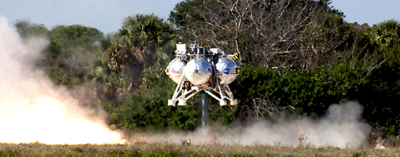 The first free flight of the Project Morpheus prototype lander was conducted at the Shuttle Landing Facility at NASA's Kennedy Space Center in Florida. Photo credit: NASA/Kim Shiflett