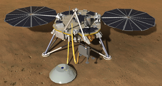 This artist's rendition depicts the InSight spacecraft deploying its seismometer and heat flow experiments on Mars. Image credit: NASA/JPL-Caltech