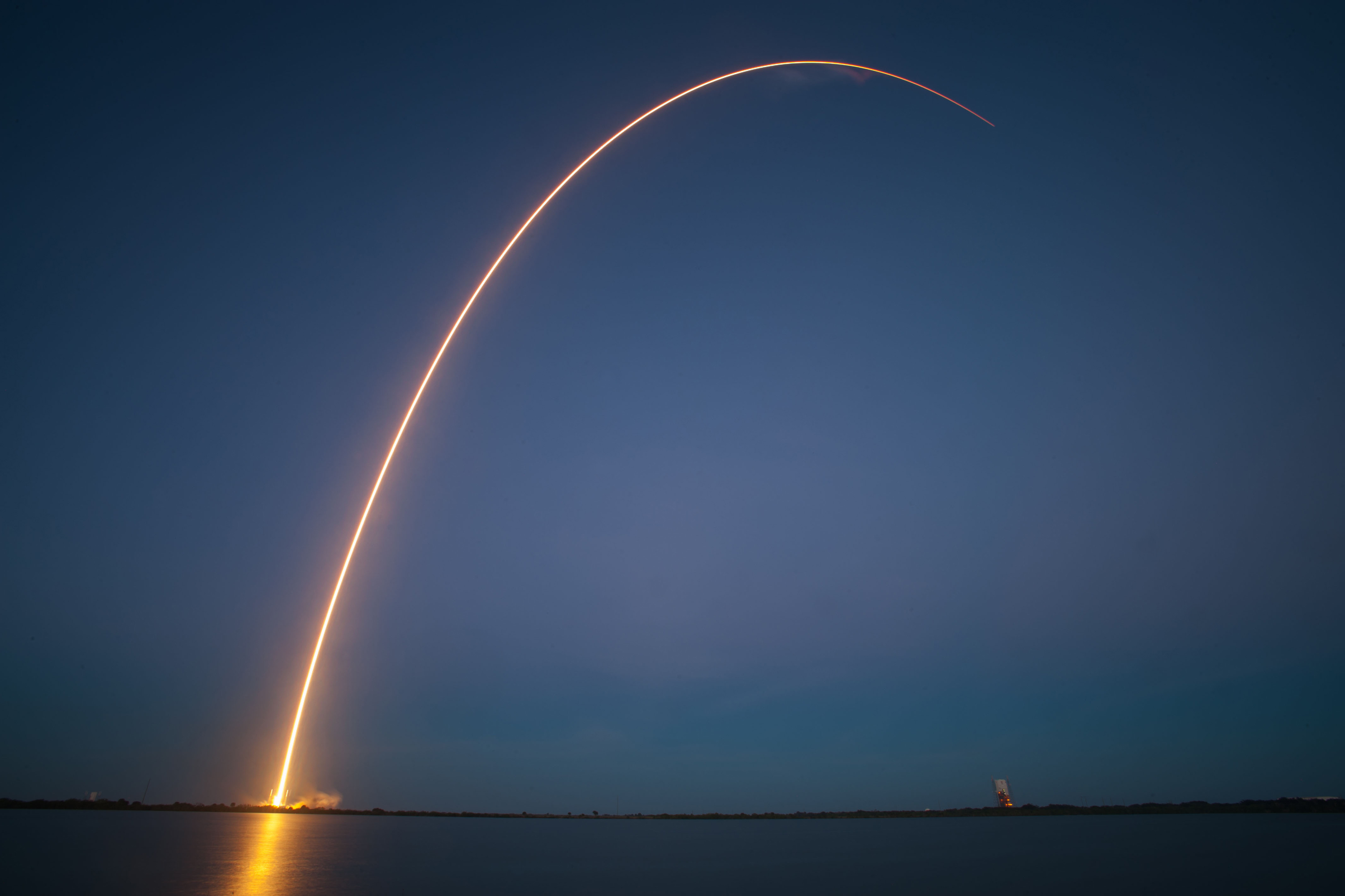 Falcon 9 and SES-8 launch from SpaceX's launch pad at Cape Canaveral. Credit: SpaceX