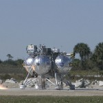 The Project Morpheus prototype lander third free flight test begins at the north end of the Shuttle Landing Facility at NASA's Kennedy Space Center in Florida. The 57-second test began at 1:15 p.m. EST with the Morpheus lander launching from the ground over a flame trench and ascending about 187 feet, nearly doubling the target ascent velocity from the last test in December 2013. The lander flew forward, covering about 154 feet in 20 seconds before descending and landing within 11 inches of its target on a dedicated pad inside the autonomous landing and hazard avoidance technology, or ALHAT, hazard field. Project Morpheus tests NASA's ALHAT and an engine that runs on liquid oxygen and methane, or green propellants, into a fully-operational lander that could deliver cargo to other planetary surfaces. The landing facility provides the lander with the kind of field necessary for realistic testing, complete with rocks, craters and hazards to avoid. Morpheus' ALHAT payload allows it to navigate to clear landing sites amidst rocks, craters and other hazards during its descent. Project Morpheus is being managed under the Advanced Exploration Systems, or AES, Division in NASA's Human Exploration and Operations Mission Directorate. The efforts in AES pioneer new approaches for rapidly developing prototype systems, demonstrating key capabilities and validating operational concepts for future human missions beyond Earth orbit. For more information on Project Morpheus, visit http://www.nasa.gov/centers/johnson/exploration/morpheus. Photo credit: NASA/Frankie Martin