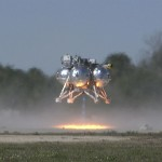 The Project Morpheus prototype lander begins its ascent from a launch pad during the third free flight test at the north end of the Shuttle Landing Facility at NASA's Kennedy Space Center in Florida. The 57-second test began at 1:15 p.m. EST with the Morpheus lander launching from the ground over a flame trench and ascending about 187 feet, nearly doubling the target ascent velocity from the last test in December 2013. The lander flew forward, covering about 154 feet in 20 seconds before descending and landing within 11 inches of its target on a dedicated pad inside the autonomous landing and hazard avoidance technology, or ALHAT, hazard field. Project Morpheus tests NASA's ALHAT and an engine that runs on liquid oxygen and methane, or green propellants, into a fully-operational lander that could deliver cargo to other planetary surfaces. The landing facility provides the lander with the kind of field necessary for realistic testing, complete with rocks, craters and hazards to avoid. Morpheus' ALHAT payload allows it to navigate to clear landing sites amidst rocks, craters and other hazards during its descent. Project Morpheus is being managed under the Advanced Exploration Systems, or AES, Division in NASA's Human Exploration and Operations Mission Directorate. The efforts in AES pioneer new approaches for rapidly developing prototype systems, demonstrating key capabilities and validating operational concepts for future human missions beyond Earth orbit. For more information on Project Morpheus, visit http://www.nasa.gov/centers/johnson/exploration/morpheus. Photo credit: NASA/Frankie Martin
