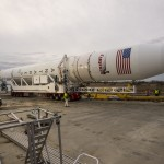 An Orbital Sciences Corporation Antares rocket is seen as it is rolled out to launch Pad-0A at NASA's Wallops Flight Facility, Sunday, January 5, 2014 in advance of a planned Wednesday, Jan. 8th, 1:32 p.m. EST launch, Wallops Island, VA. The Antares will launch a Cygnus spacecraft on a cargo resupply mission to the International Space Station. The Orbital-1 mission is Orbital Sciences' first contracted cargo delivery flight to the space station for NASA. Among the cargo aboard Cygnus set to launch to the space station are science experiments, crew provisions, spare parts and other hardware. Photo Credit: (NASA/Bill Ingalls)