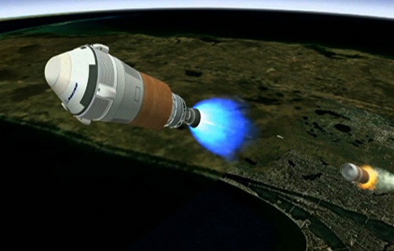 This is an artist's concept of Boeing's CST-100 spacecraft separating from the first stage of its launch vehicle, a United Launch Alliance (ULA) Atlas V rocket, following liftoff from Cape Canaveral Air Force Station in Florida. The integrated system is being developed in collaboration with NASA's Commercial Crew Program during the Commercial Crew Integrated Capability initiative. Image credit: Boeing