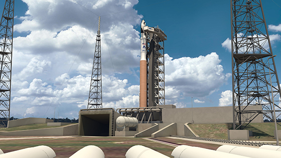 This is an artist's concept of Sierra Nevada Corp. (SNC) Dream Chaser spacecraft atop a United Launch Alliance (ULA) Atlas V rocket. The integrated system is under development in collaboration with NASA's Commercial Crew Program during the Commercial Crew Integrated Capability initiative. Image credit: Sierra Nevada Corp.