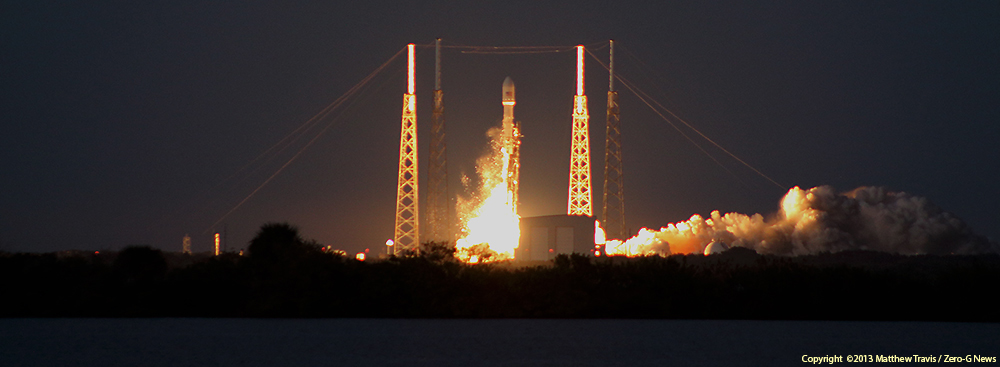 A SpaceX Falcon 9 v1.1 rocket blasts off with SES-8. Credit: Matthew Travis / Zero-G News