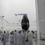 NASA showed off their newest communication satellite, TDRS-L, to the media yesterday at Astrotech's spacecraft processing facility.TDRS-L is scheduled for launch on January 23 onboard a United Launch Alliance Atlas V rocket. Photo Credit: Matthew Travis / Zero-G News