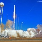 Antares blasts off with Cygnus Orb-1. Photo Credit: Mike Killian / AmericaSpace