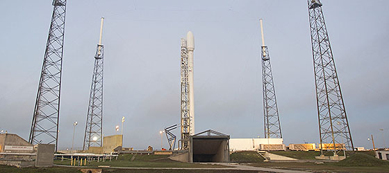 Falcon 9 v1.1 on the launch pad. Photo Credit: SpaceX