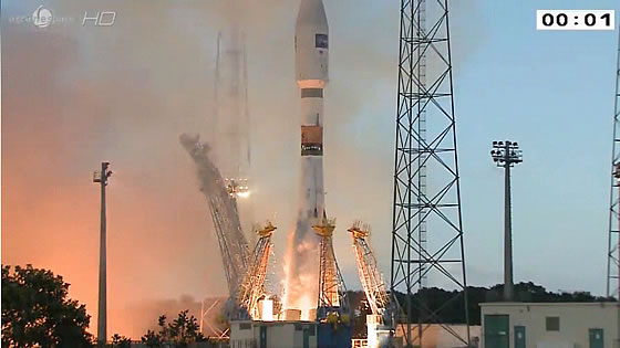 Soyuz blasts off with Sentinel-1A. Credit: Arianespace / CNES