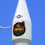 The Atlas rocket's payload fairing sports the colorful logo for the NROL-33 mission. Photo Credit: Matthew Travis / Zero-G News