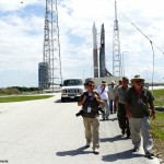 News media photographers leave Space Launch Complex 41 after setting up cameras to record the launch of an Atlas rocke twith NROL-33. Photo Credit: Matthew Travis / Zero-G News