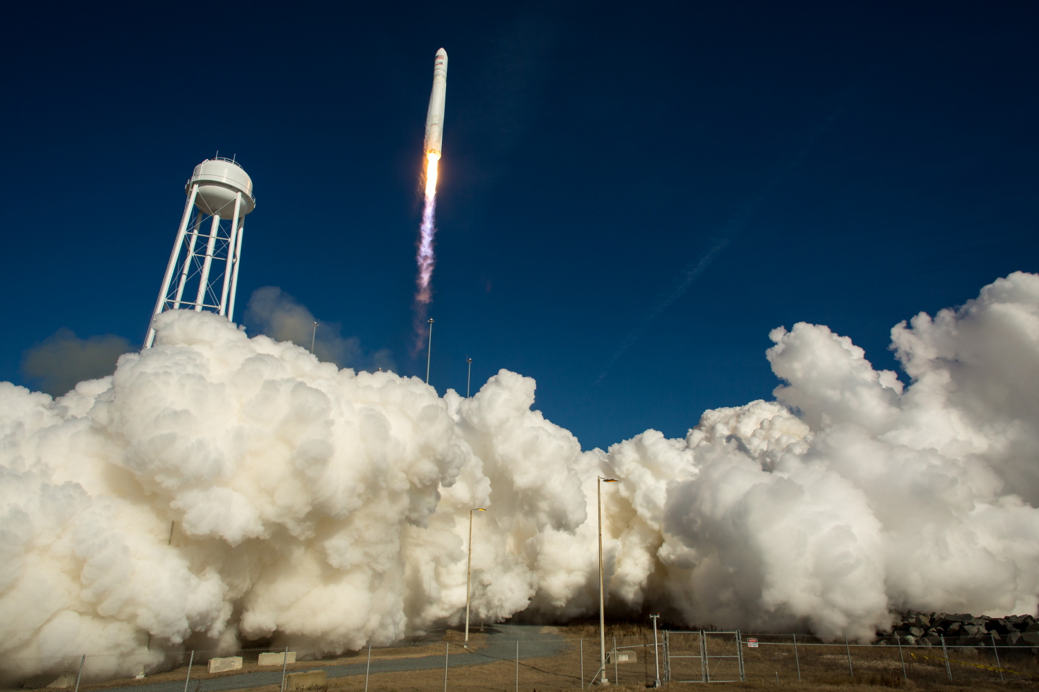 Antares blasts off on the Cygnus Orb-1 mission.