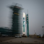The Mobile Service Tower rolls away from the Delta II rocket with OCO-2. Photo Credit: NASA / Bill Ingalls
