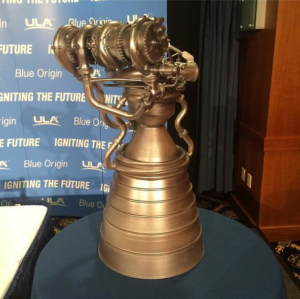 Model of Blue Origin BE-4 engine. Photo Credit: United Launch Alliance