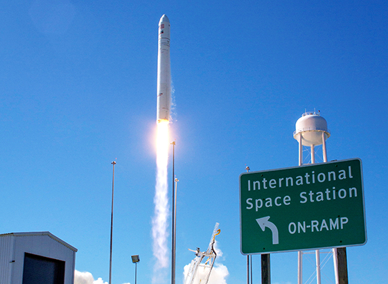The Orbital Sciences Corporation Antares rocket, with the Cygnus cargo spacecraft aboard, is seen as it launches from Pad-0A of the Mid-Atlantic Regional Spaceport, NASA Wallops Flight Facility, Virginia. Image Credit: NASA/Bill Ingalls