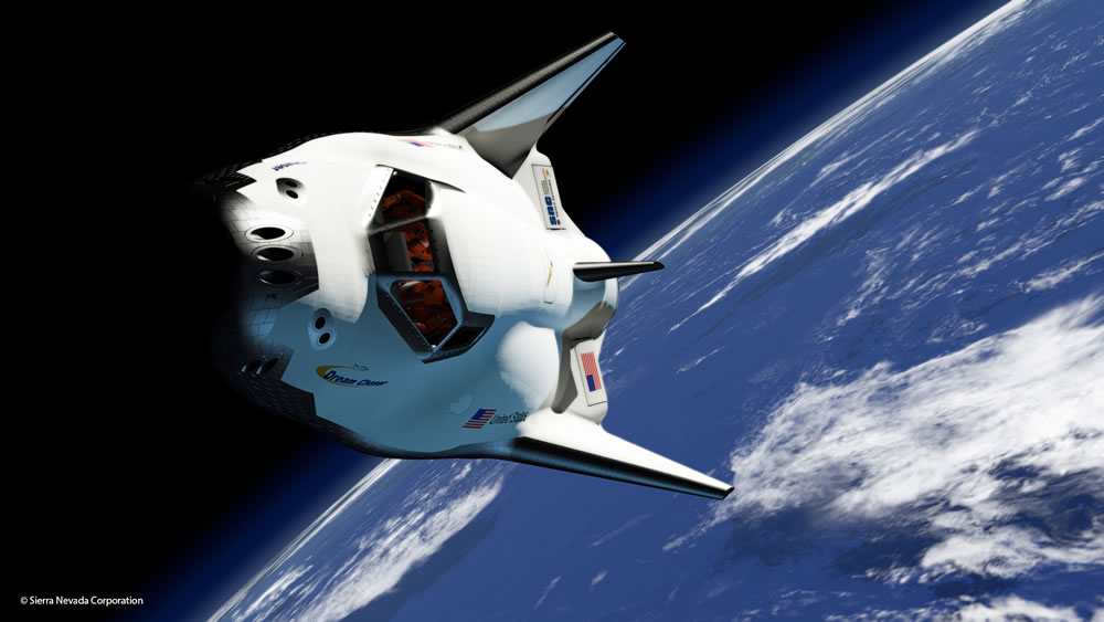 Artist's depiction of Dream Chaser in orbit. Credit: Sierra Nevada Corporation