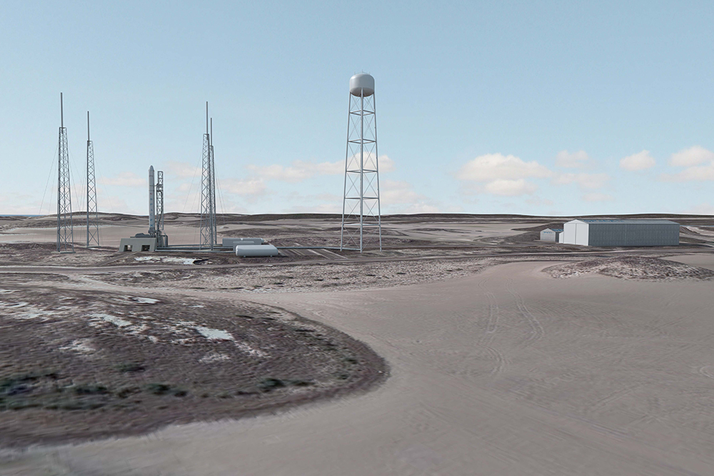 Artist's depiction of SpaceX Texas launch site. Credit: SpaceX