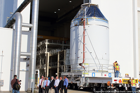 The fully-assembled Orion EFT-1 spacecraft is revealed for the first time. Photo Credit: Matthew Travis / Zero-G News