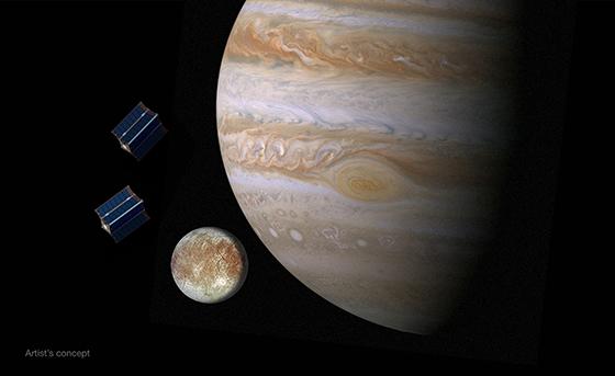 Artist's concept of CubeSats near Jupiter's moon Europa. Image Credit: NASA/JPL