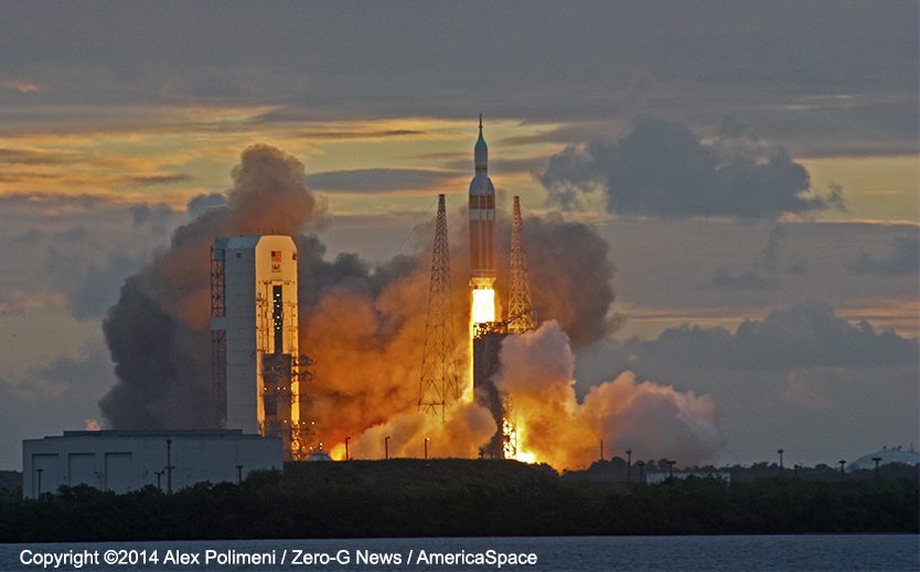A United Launch Alliance Delta IV Heavy rocket blasts off from Space Launch Complex 37 at 7:05 am EST Dec. 4, 2014 carrying NASA's Orion EFT-1 mission. Photo Credit: Alex Polimeni / Zero-G News / AmericaSpace