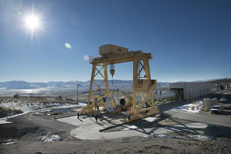 The first qualification motor for NASA's Space Launch Systems booster is installed in ATK's test stand in Utah - ready for a March 11 static-fire test. (PRNewsFoto/ATK)