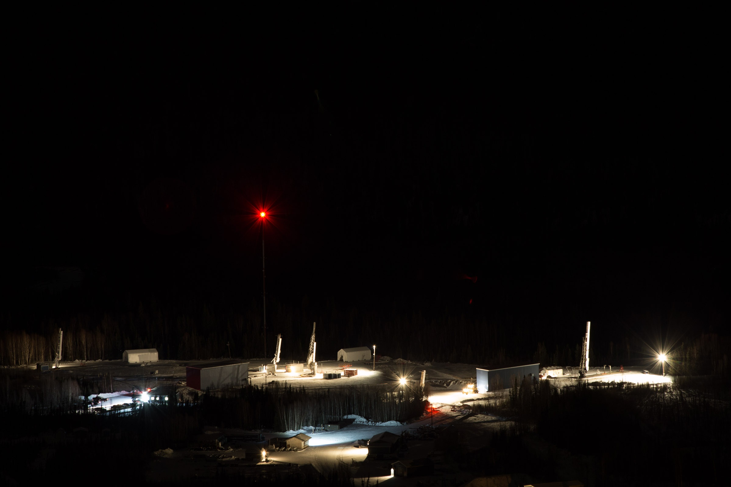 Five rockets are on the pad and waiting to go from the Poker Flat Research Range in Alaska. Image Credit: NASA / Jamie Adkins