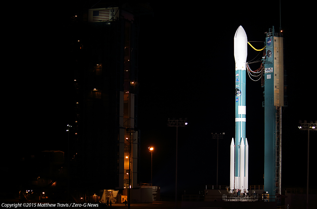 A United Launch Alliance Delta II-7320 at SLC-2W at Vandenberg AFB carrying NASA's SMAP spceacraft. Photo Credit: Matthew Travis / Zero-G News