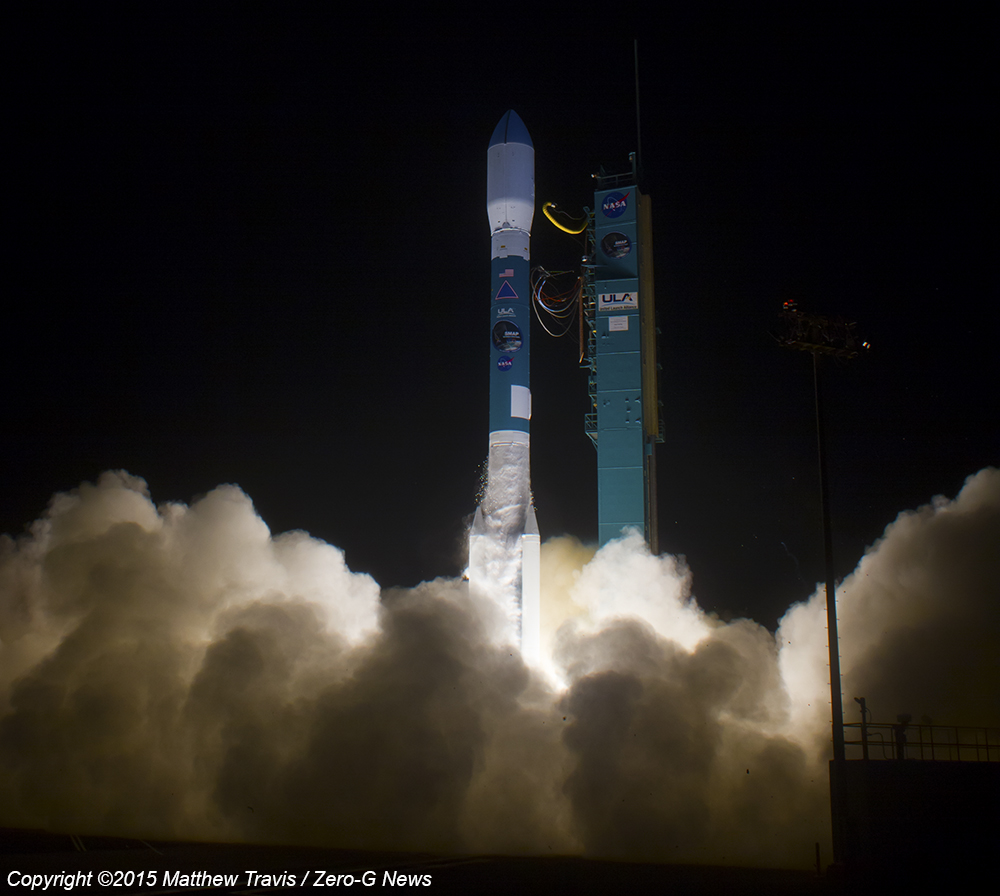 A United Launch Alliance Delta II-7320 blasts off from SLC-2W at Vandenberg AFB carrying NASA's SMAP spceacraft. Photo Credit: Matthew Travis / Zero-G News