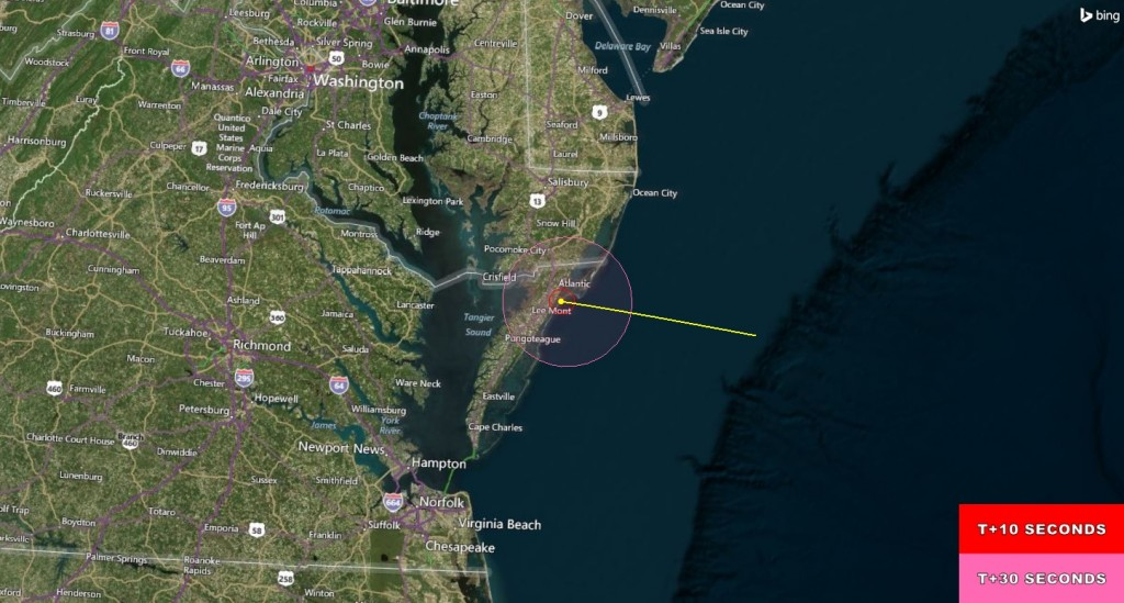 Visibility map for RockSat-X IV. The rocket is projected to be visible to residents in the Wallops area. Image Credit: NASA