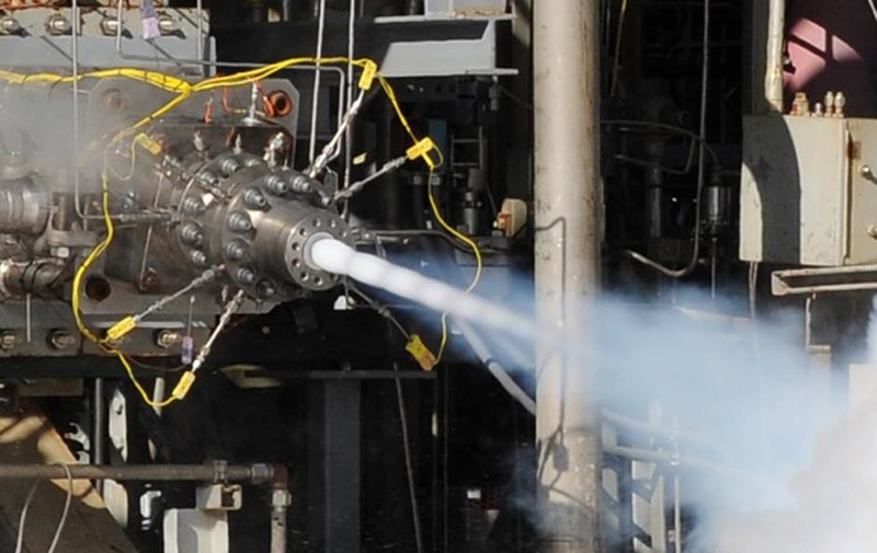Aerojet Rocketdyne recently completed hot-fire testing of a single-element main injector for the AR1 rocket engine that was completely built using Additive Manufacturing. Credit: Aerojet Rocketdyne