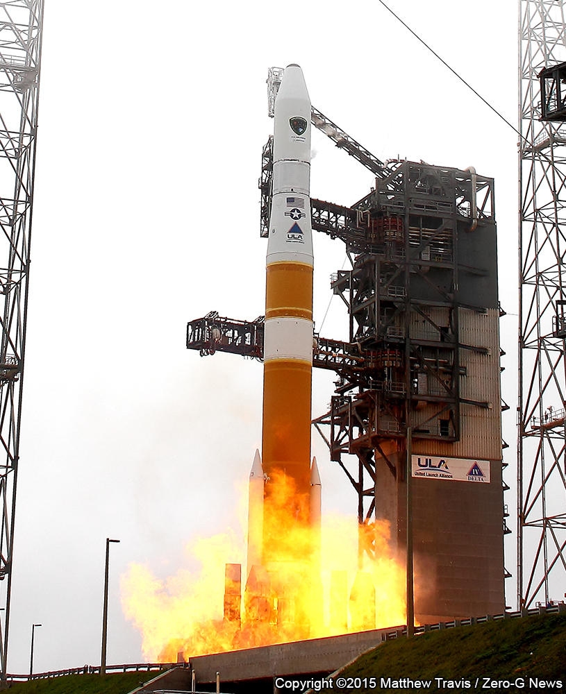 A United Launch Alliance Delta IV lifts off with the Air Force GPS IIF-9 spacecraft. Photo Credit: Matthew Travis / Zero-G News