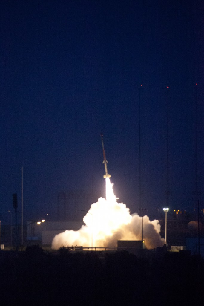 A Terrier-Improved Malemute leaves the launch pad carrying the RockSat-X III at NASA's Wallops Flight Facility on Aug. 13, 2013. Image Credit: NASA/John Grant