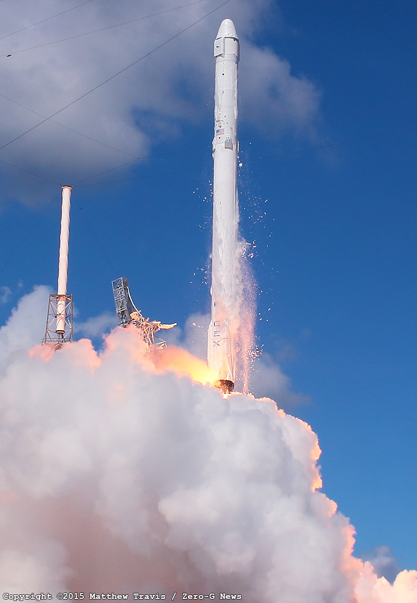 Falcon 9 clears the pad after a seemingly perfect liftoff. Photo Credit: Matthew Travis / Zero-G News