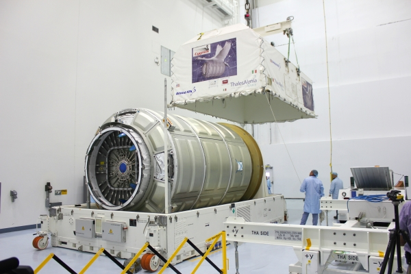 The Cygnus Pressurized Cargo Module for the OA-4 mission arrived at the Kennedy Space Center on August 10 for processing in preparation for the upcoming CRS space station resupply mission to be launched from Florida in early December. (courtesy: Orbital ATK)